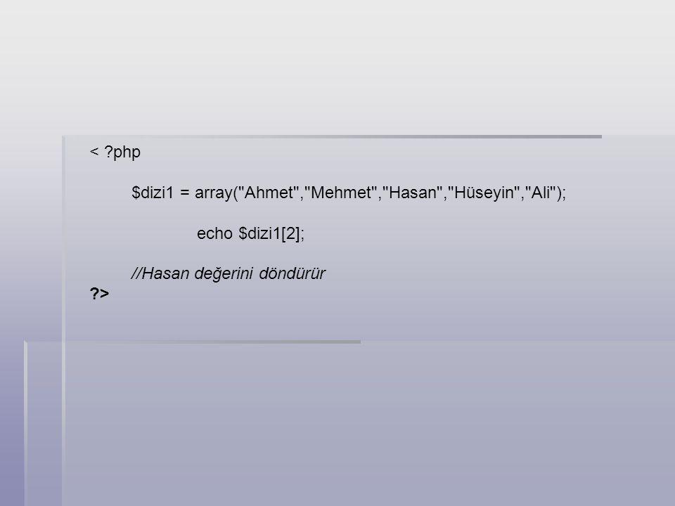 < php $dizi1 = array( Ahmet , Mehmet , Hasan , Hüseyin , Ali ); echo $dizi1[2]; //Hasan değerini döndürür.